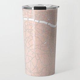 RoseGold on White London Street Map II Travel Mug