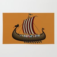 vikings Area & Throw Rugs featuring Vikings by mangulica illustrations