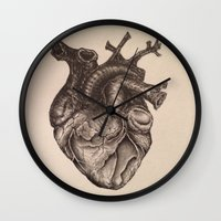 anatomical heart Wall Clocks featuring Anatomical Heart by Redmonks