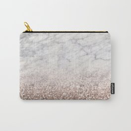 Bold ombre rose gold glitter - white marble Carry-All Pouch