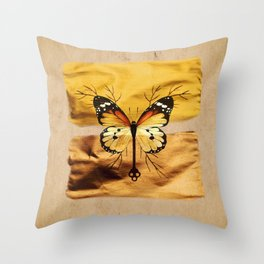 Gold and copper butterfly Throw Pillow