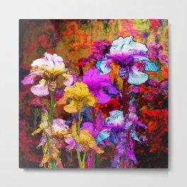 Yellow & Violet Purple Fantasy Iris  Painting Metal Print