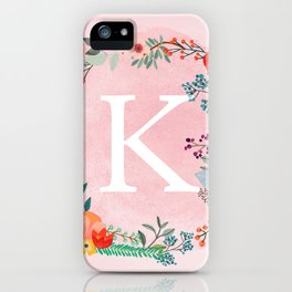 Flower Wreath with Personalized Monogram Initial Letter K on Pink Watercolor Paper Texture Artwork iPhone Case