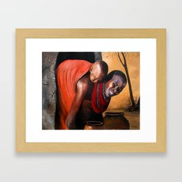 A painting of a maasai woman and a Child Framed Art Print