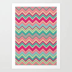 Aztec chevron pattern- pink & cream Art Print