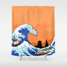 Big wave Lisbon Shower Curtain