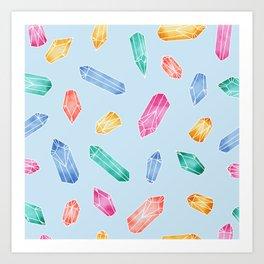 Crystals pattern - Light Blue Art Print