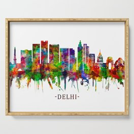 Delhi India Skyline Serving Tray