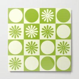 Monochromatic Green Checkered Pattern Metal Print