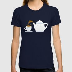 Tea Time! SMALL Womens Fitted Tee Navy
