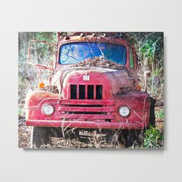 Red Antique Truck Metal Print
