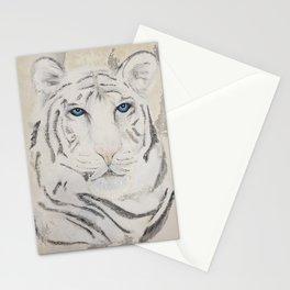 Original Art - White Tiger Original Painting (highly textured)  #white Stationery Cards