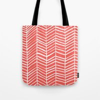 coral Tote Bags featuring Coral Herringbone by Cat Coquillette