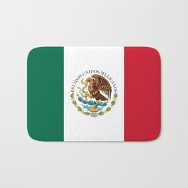 Flag of Mexico - alt version with seal insert Bath Mat