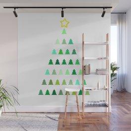 Christmas Greeting Card With Christmas Trees Wall Mural