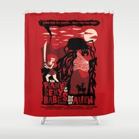 movie posters Shower Curtains featuring B-Movie by jublin