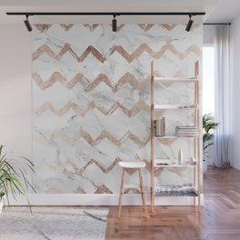 Chic faux rose gold chevron white marble pattern Wall Mural