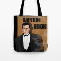 captain hook Tote Bags featuring captain hook by snsemstlcp