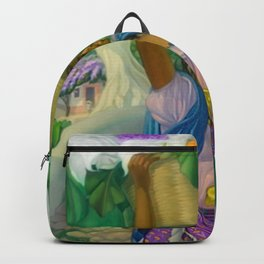 Vendedora de flowers hydrangea and calla lilies portrait by Alfonso Pena Backpack