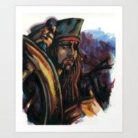 jack sparrow Art Prints featuring Cap'n Jack Sparrow by TammyWitzens