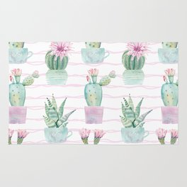 Cute Potted Cacti Stripe Pattern Rug