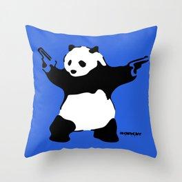 Banksy Panda with Guns Throw Pillow