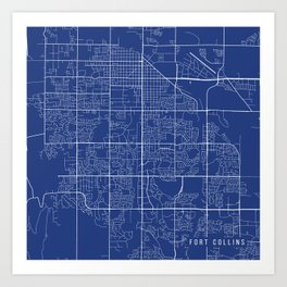 Fort Collins Map, USA - Blue Art Print