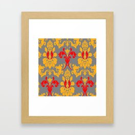 Modern Red-Gold & Grey Damask Pattern Framed Art Print