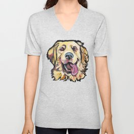 Fun GOLDEN RETRIEVER Dog bright colorful Pop Art Unisex V-Neck