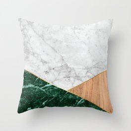 Geometric White Marble - Green Granite & Wood #138 Throw Pillow