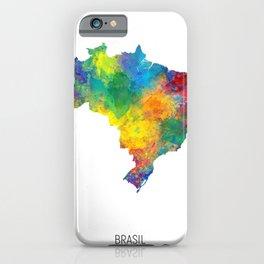 Brasil Watercolor Map iPhone Case