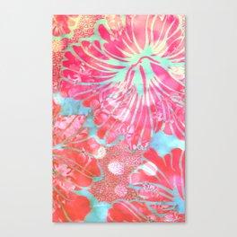 Blue Water Hibiscus Snowfall Canvas Print