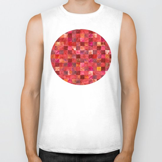 Red Geometric Pattern Biker Tank