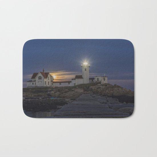 Full moon rising over Eastern point Lighthouse. Bath Mat