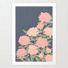 Pink peonies vintage pattern Kunstdrucke