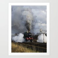 ashton irwin Art Prints featuring Rood Ashton Hall steam locomotive by PICSL8