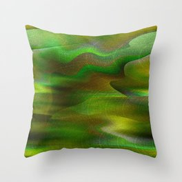 Waves of Abstraction (olive-apple-avocado green) Throw Pillow