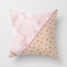 Sivec Rosa marble - golden polka dots Throw Pillow