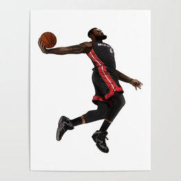 lebron nba player miami basketball Poster