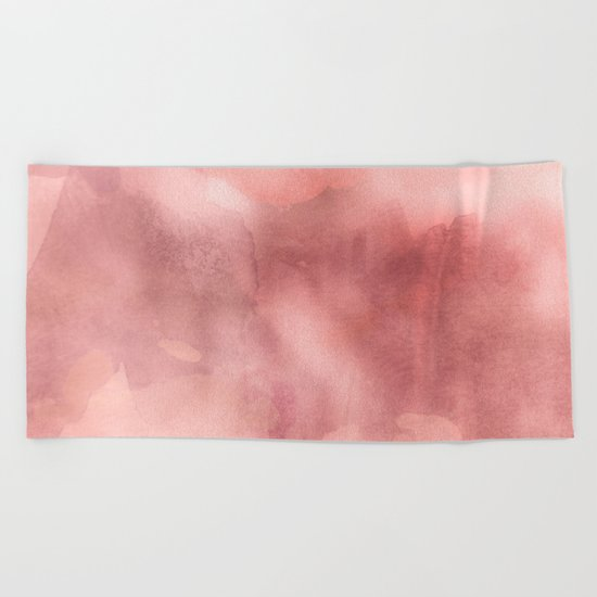 STORMY PINK WATERCOLOUR MARBLE STAIN Beach Towel