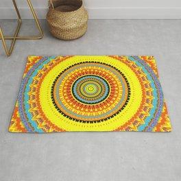 Teal Yellow Gypsy Mandala Rug