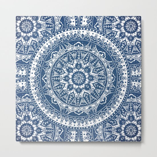 Blue Mandala Pattern Metal Print