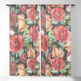 Hand painted black red watercolor roses floral Sheer Curtain
