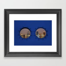 View of Kaohsiung City by Night Seen Through Two Portholes Framed Art Print