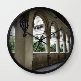 Spanish Cloister with Orange Trees Wall Clock