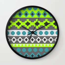 Bright tribal stripes in green and blue Wall Clock