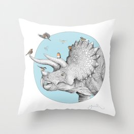 Triceratops and Birdies Throw Pillow