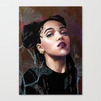 fka twigs Canvas Prints featuring FKA Twigs by Feline Zegers