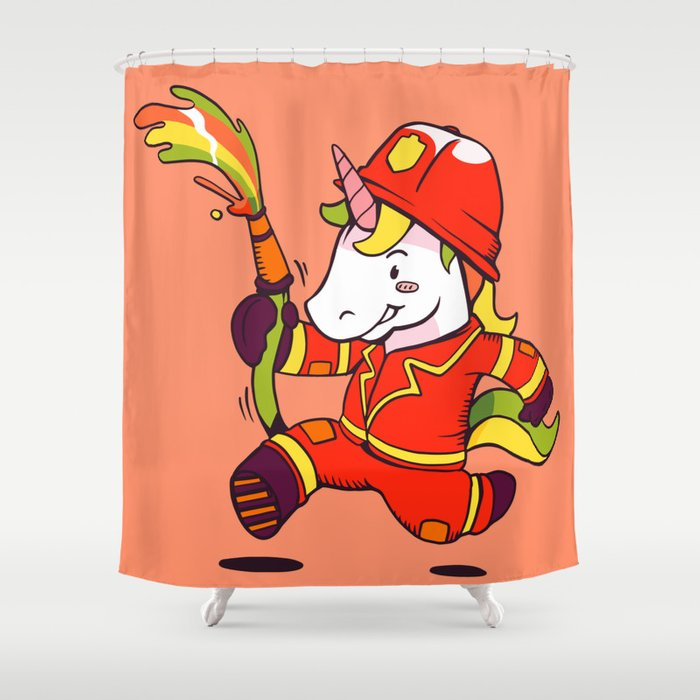 Cartoon Cute Unicorn Firefighter In Orange Shower Curtain