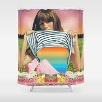 erotic Shower Curtains featuring Internal Rainbow II by Mariano Peccinetti